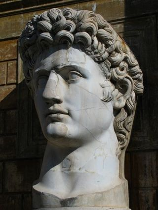 I admired the hairstyle on the colossal head of Augustus.